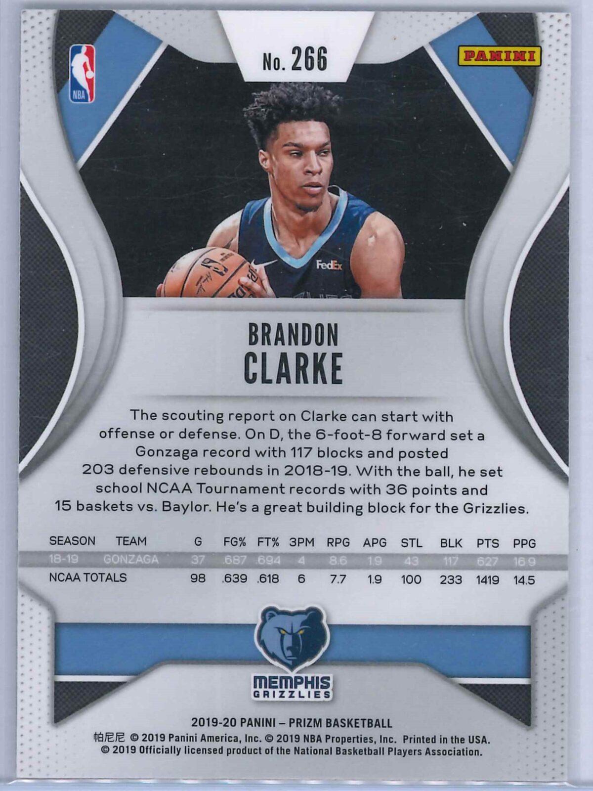 Brandon Clarke Panini Prizm 2019-20 Base RC