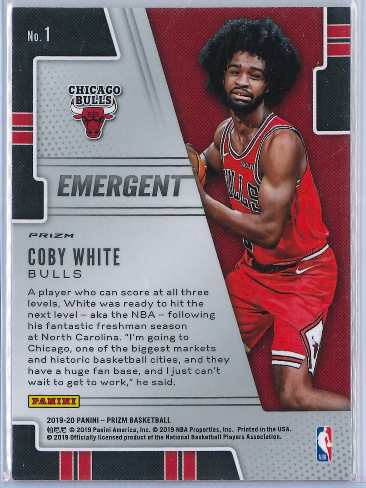 Coby White (1) Panini Prizm 2019-20 Emergent Rookie Silver