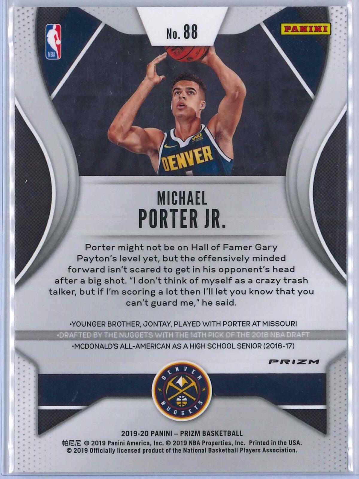 Michael Porter Jr. (2) Panini Prizm 2019-20 Base 2nd Year Silver
