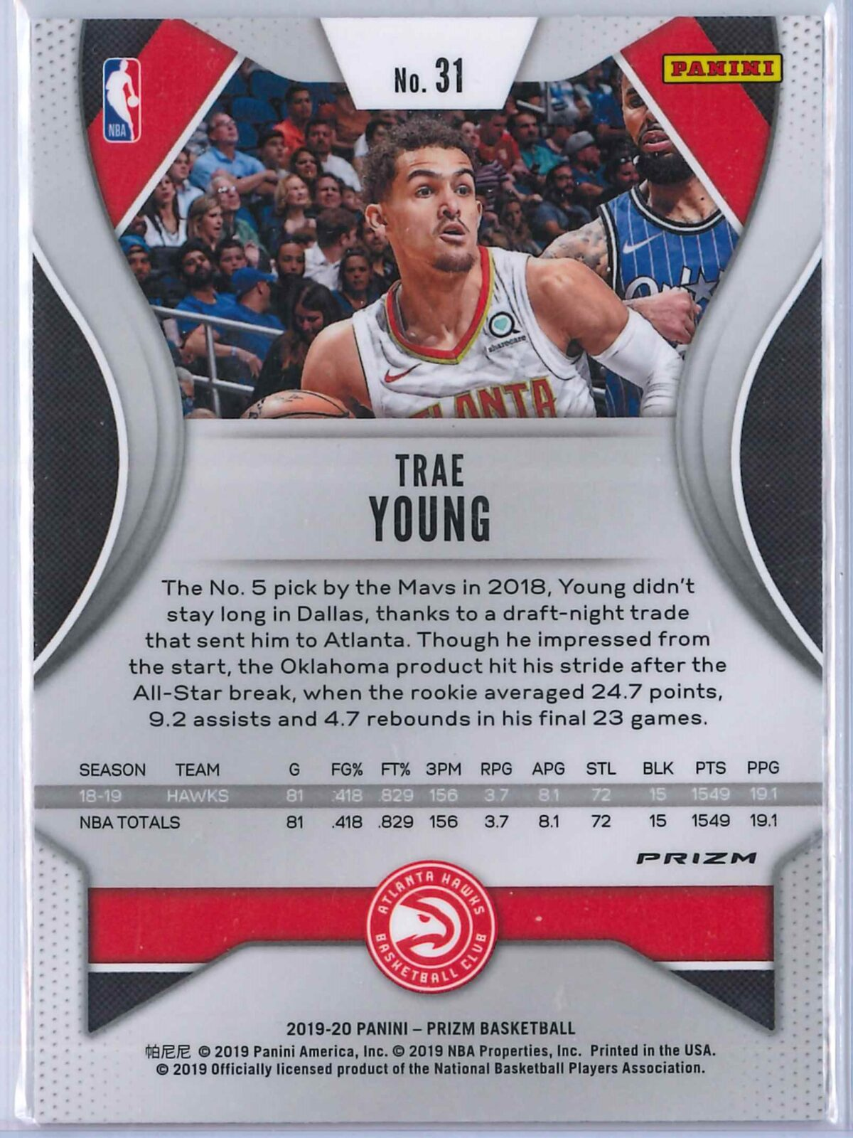 Trae Young (2) Panini Prizm 2019-20 Base 2nd Year Silver