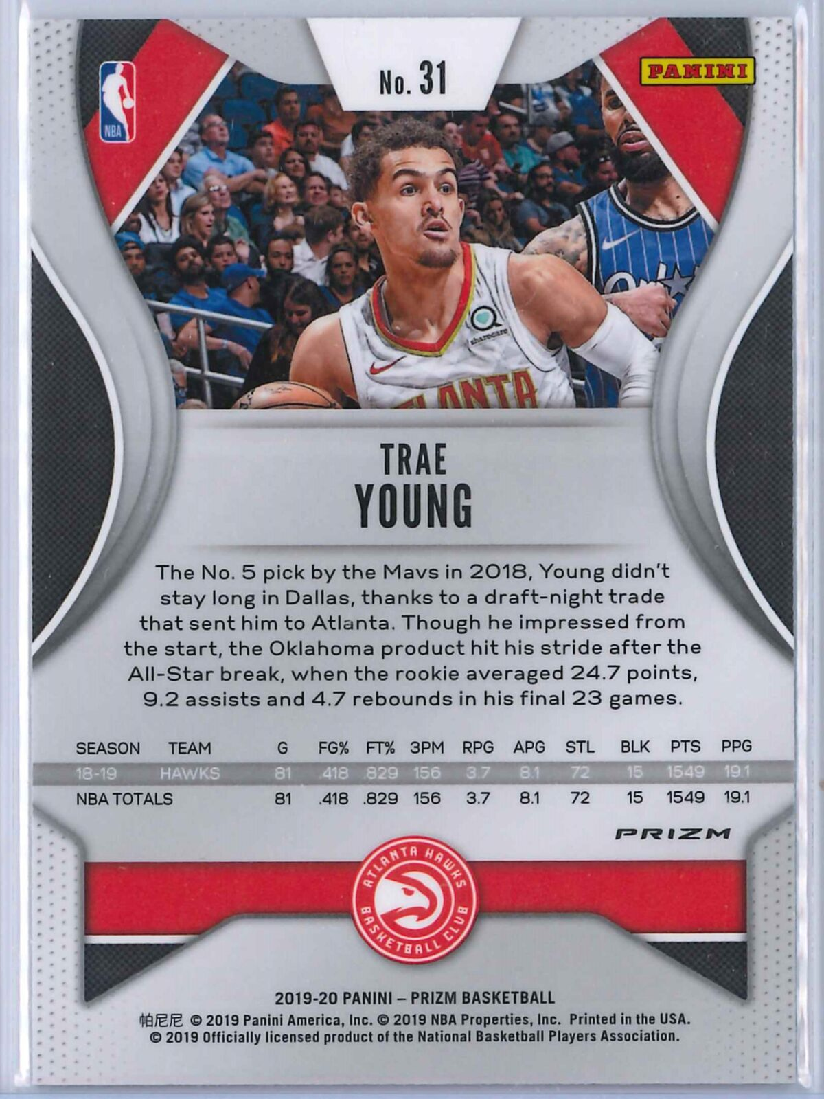 Trae Young (3) Panini Prizm 2019-20 Base 2nd Year Silver