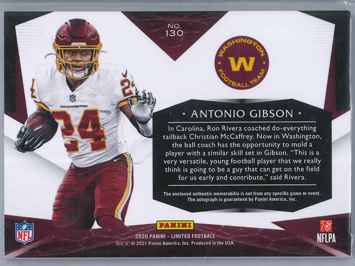 Antonio Gibson Panini Limited 2020 RPA 088/199 3-Color Patch