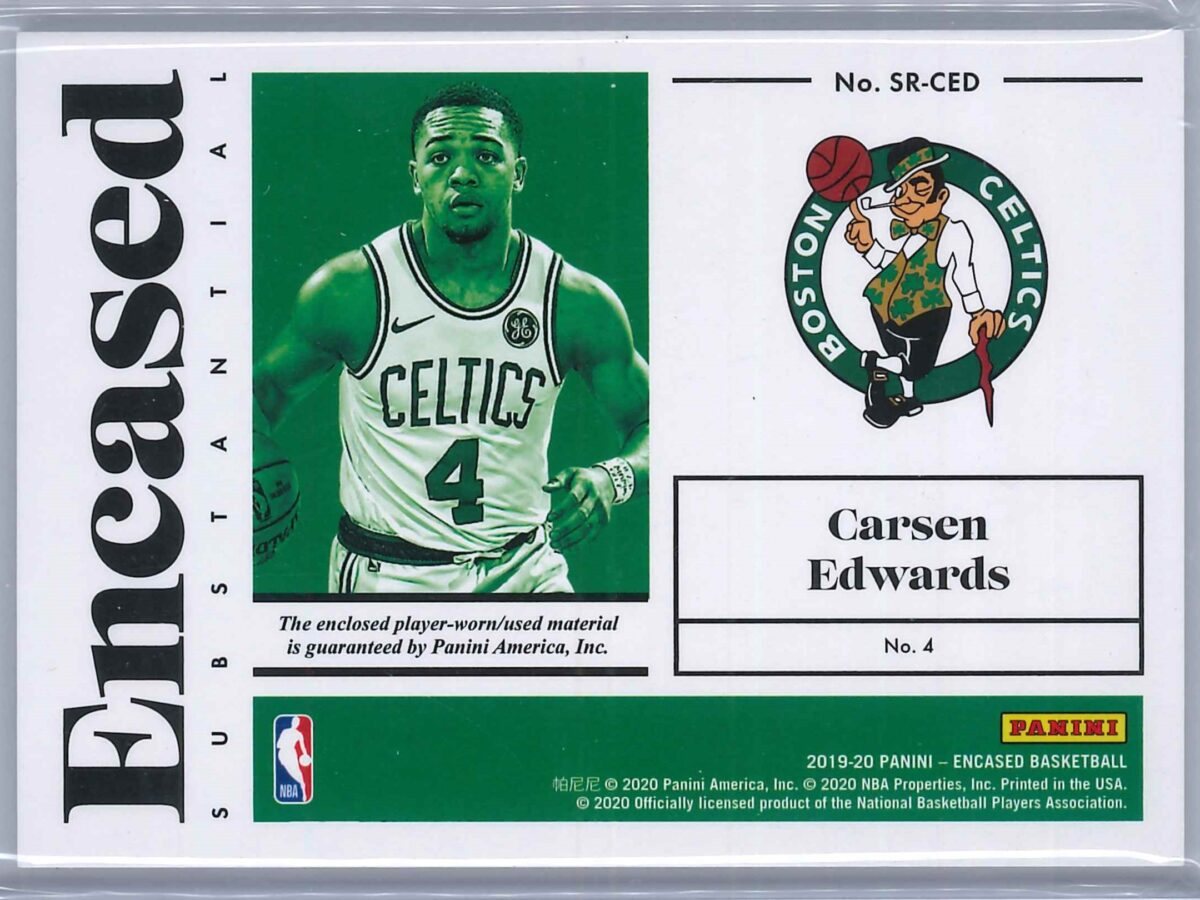 Carsen Edwards Panini Encased 2019-20 RC Patch Substantial Swatches 199/199