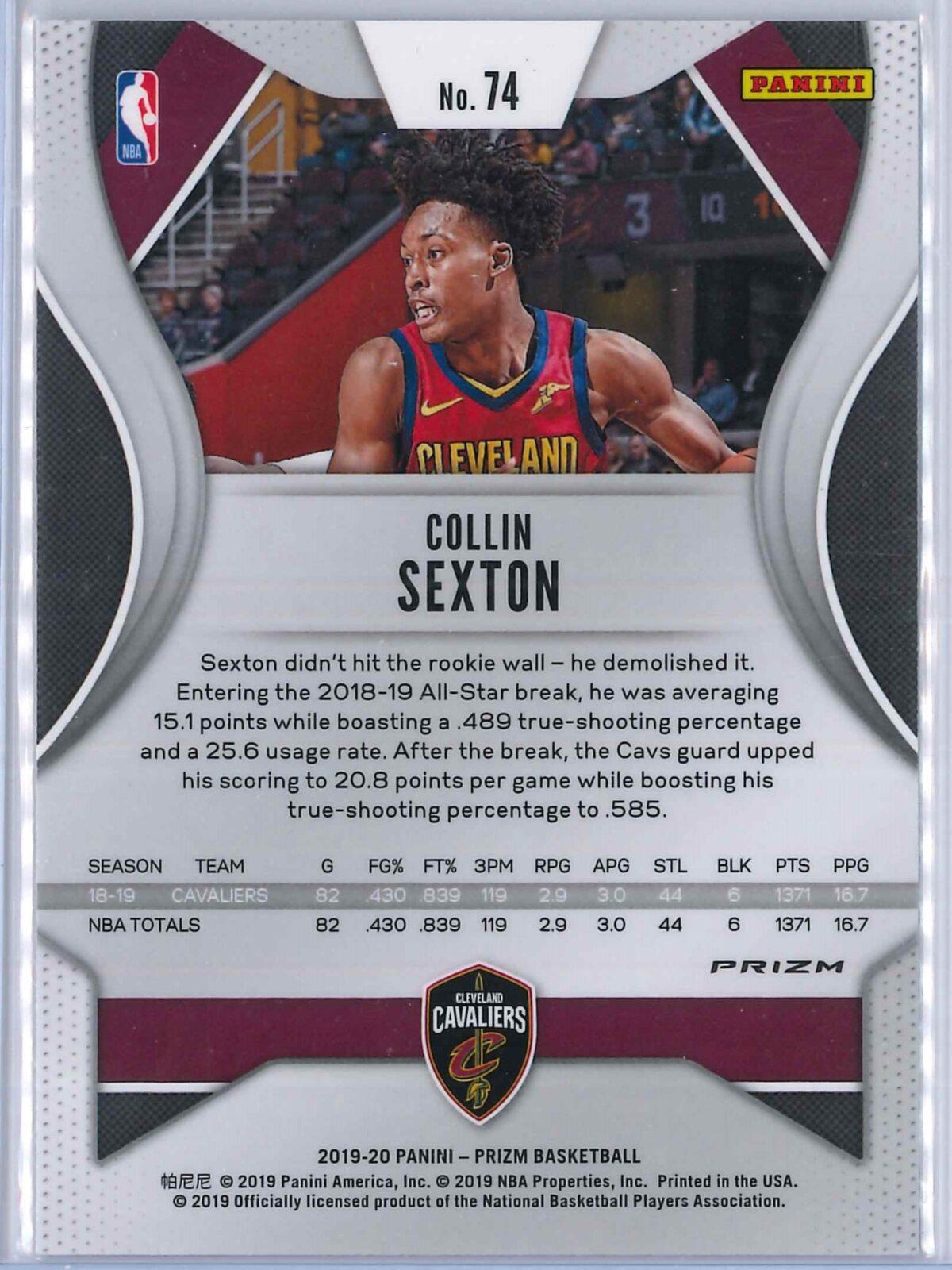 Collin Sexton (1) Panini Prizm 2019-20 Base 2nd Year Silver