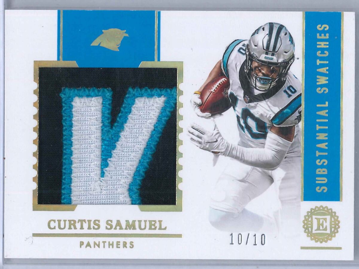 Curtis Samuel Panini Encased 2020 Substantial Swatches Gold 10/10