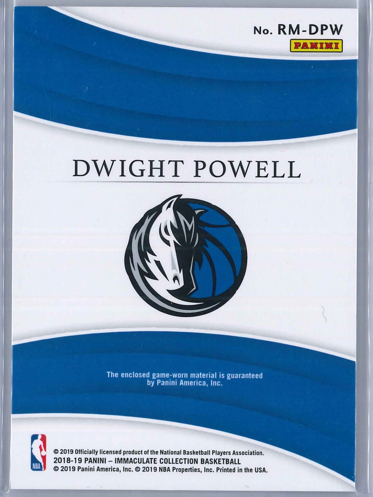 Dwight Powell Panini Immaculate 2018-19 Remarkable 80/99