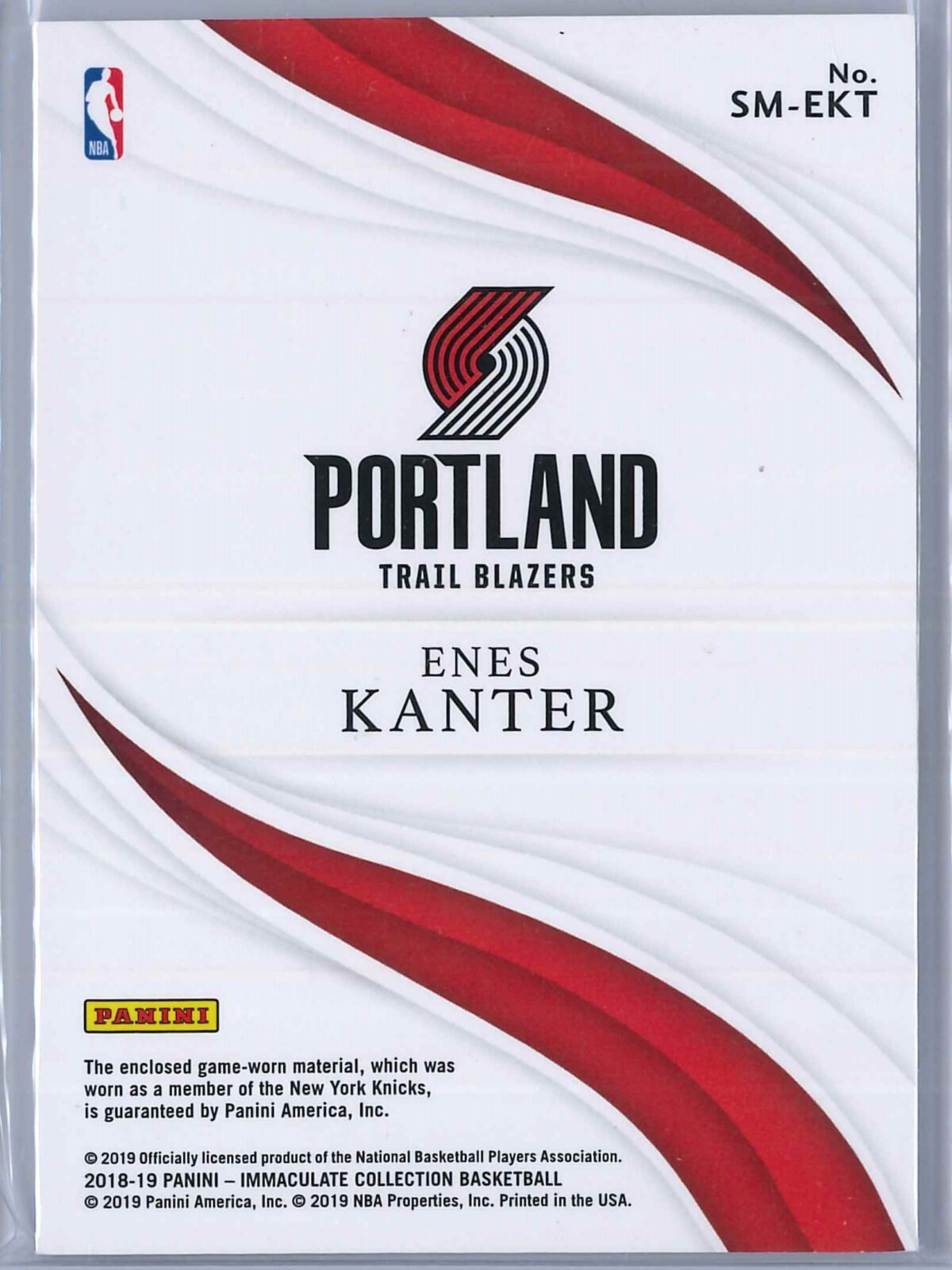 Enes Kanter Panini Immaculate 2018-19 Standout Red 04/25 4-Color Patch
