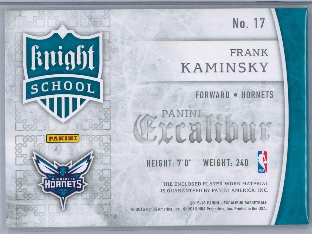 Frank Kaminsky Panini Excalibur 2015-16 Knight School RC Patch Rookie Patch