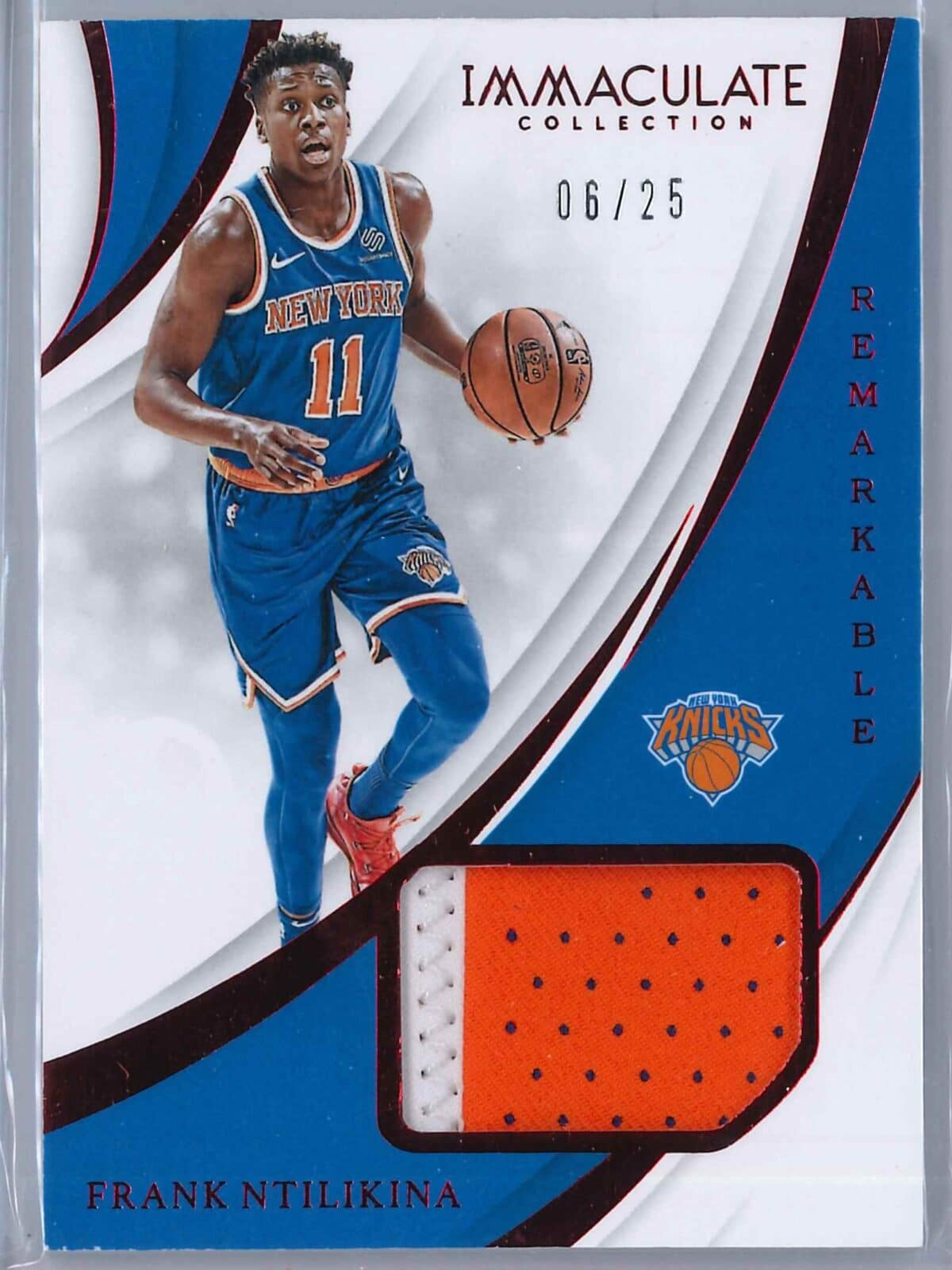 Frank Ntilikina Panini Immaculate 2018-19 Remarkable Red 06/25 2-Color Patch