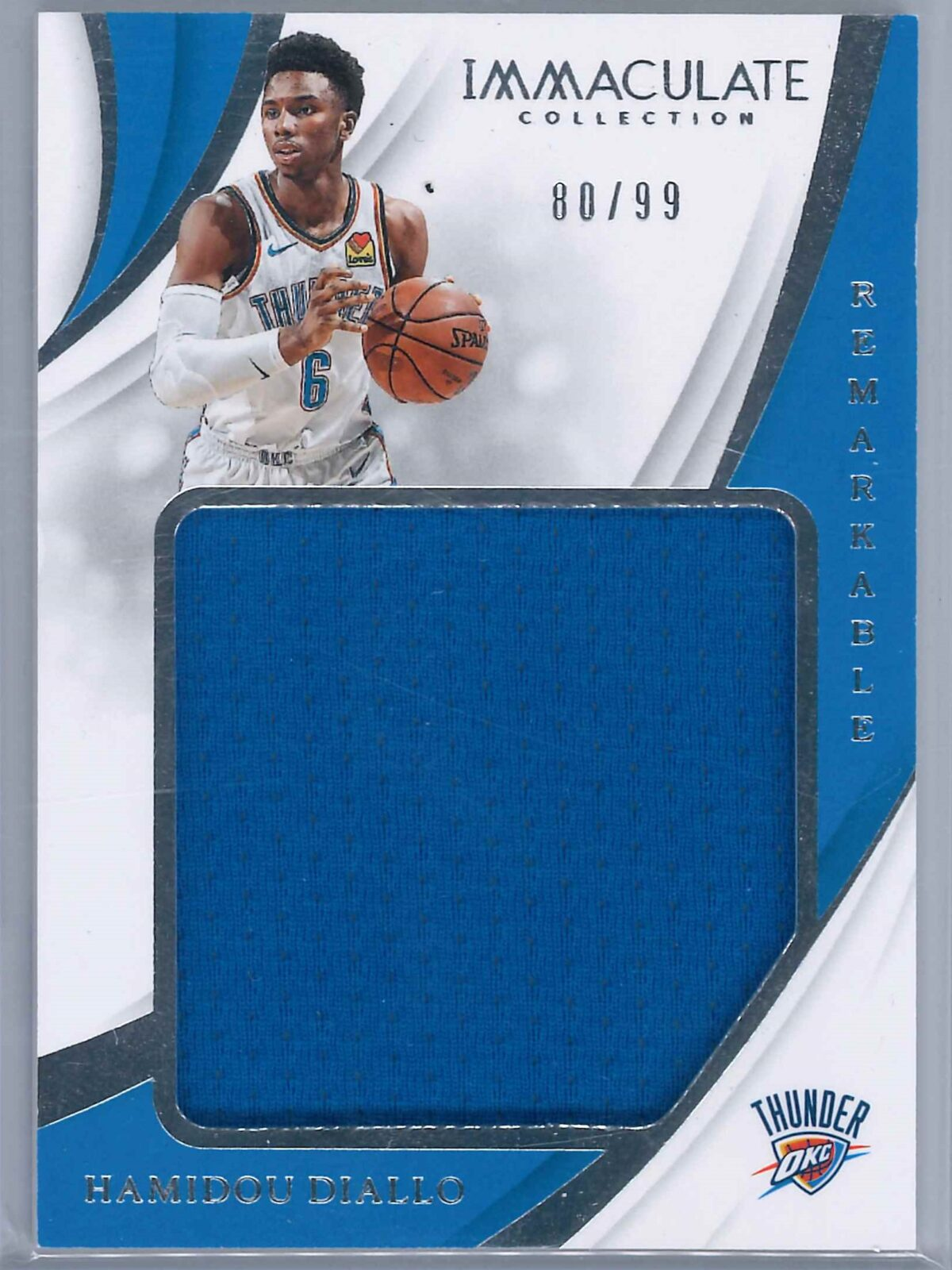 Hamidou Diallo Panini Immaculate 2018-19 Remarkable 80/99 Rookie Patch