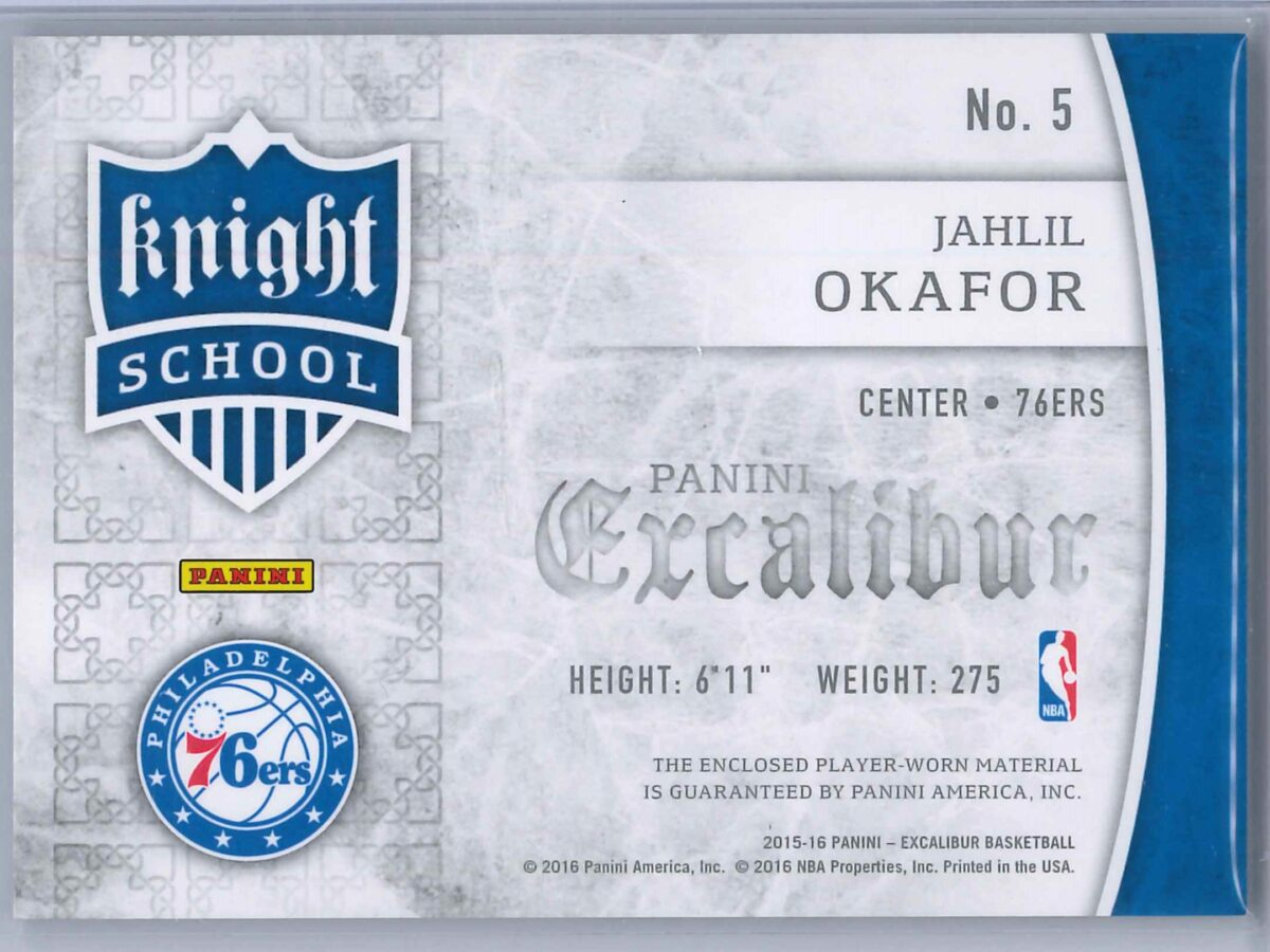 Jahlil Okafor Panini Excalibur 2015-16 Knight School RC Patch Rookie Patch