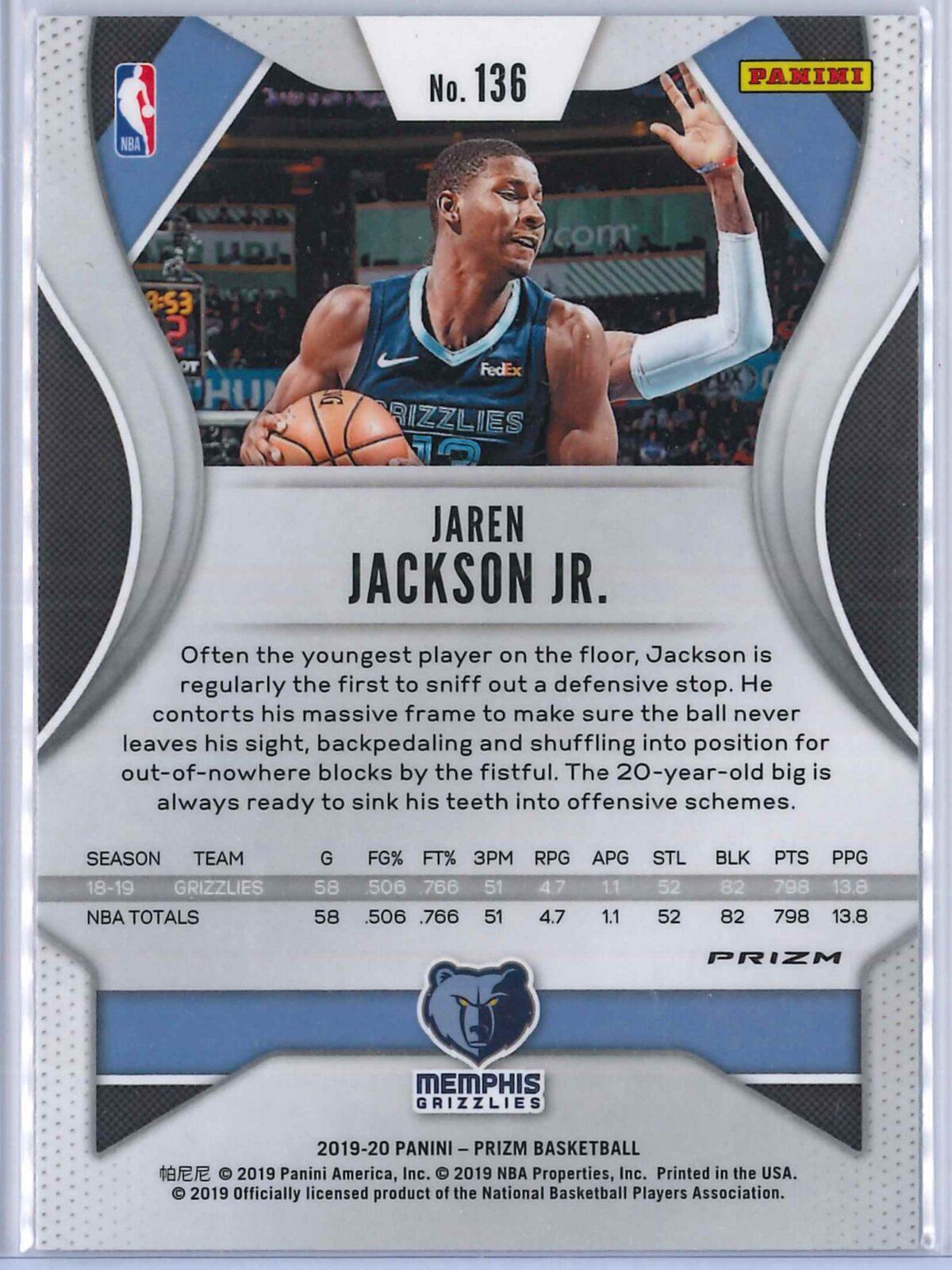 Jaren Jackson Jr. (1) Panini Prizm 2019-20 Base 2nd Year Silver