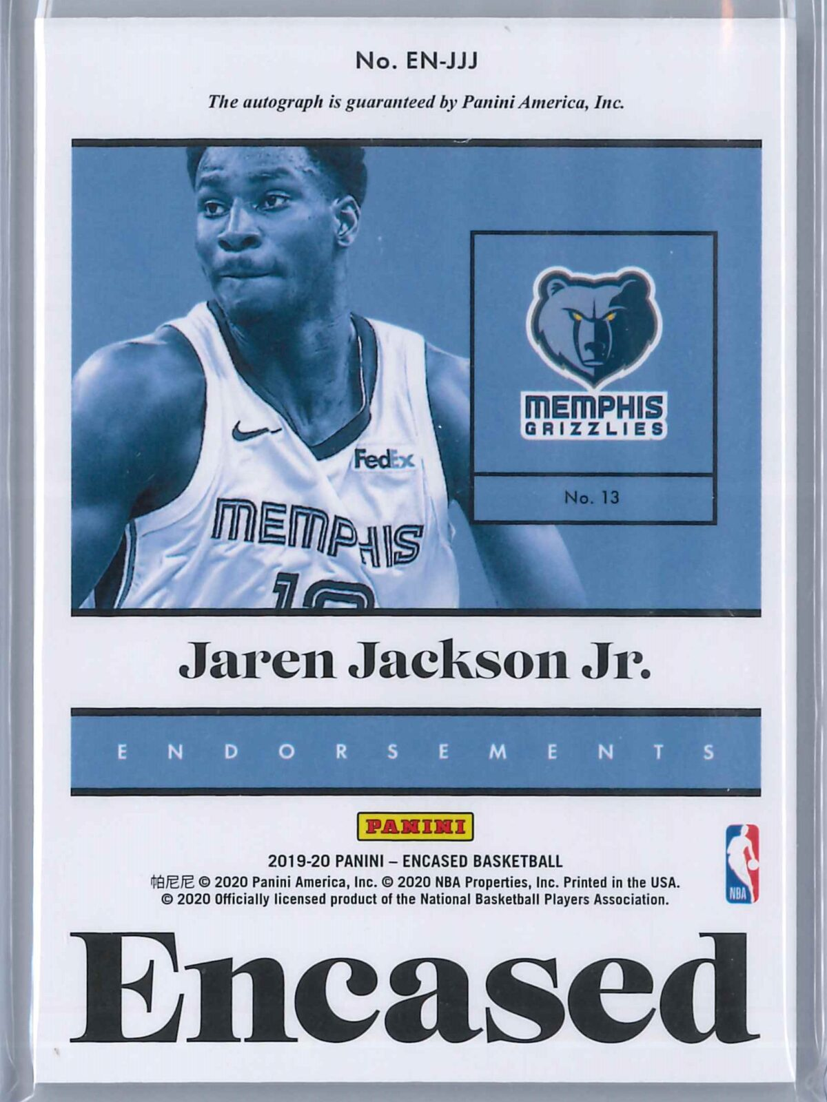 Jaren Jackson Jr. Panini Encased 2019-20 Auto Endorsements 16/49