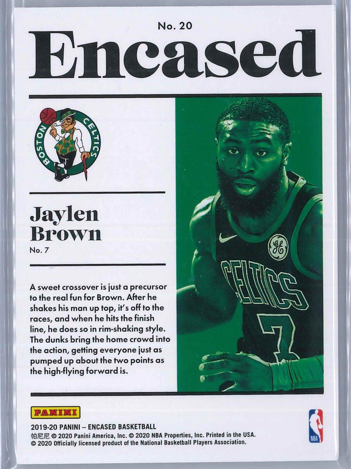 Jaylen Brown Panini Encased 2019-20 Base 02/99