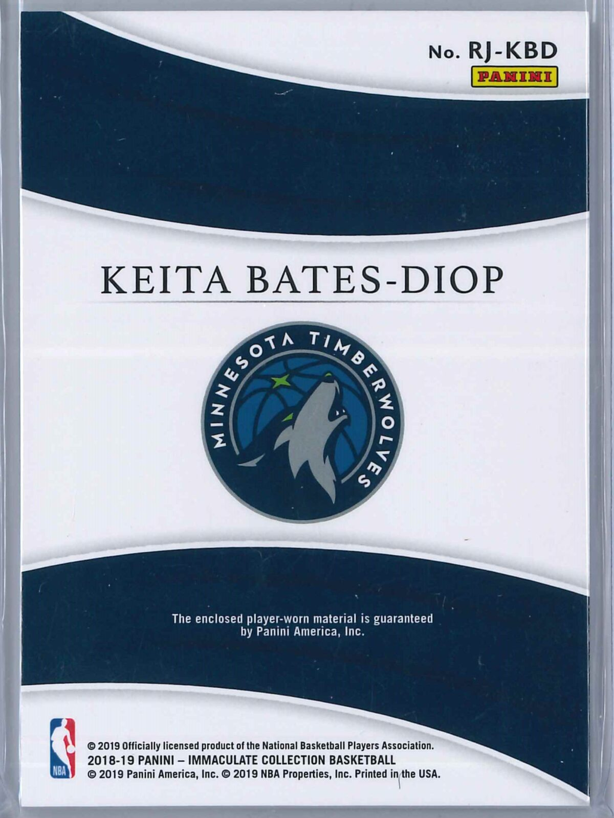 Keita Bates Diop Panini Immaculate 2018-19 Remarkable 66/99 Rookie Patch
