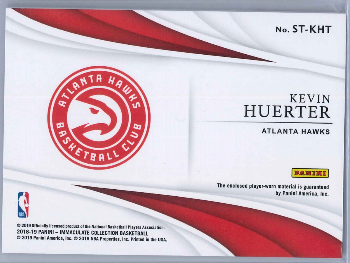 Kevin Huerter Panini Immaculate 2018-19 The Standard 31/99 2-Color Rookie Patch