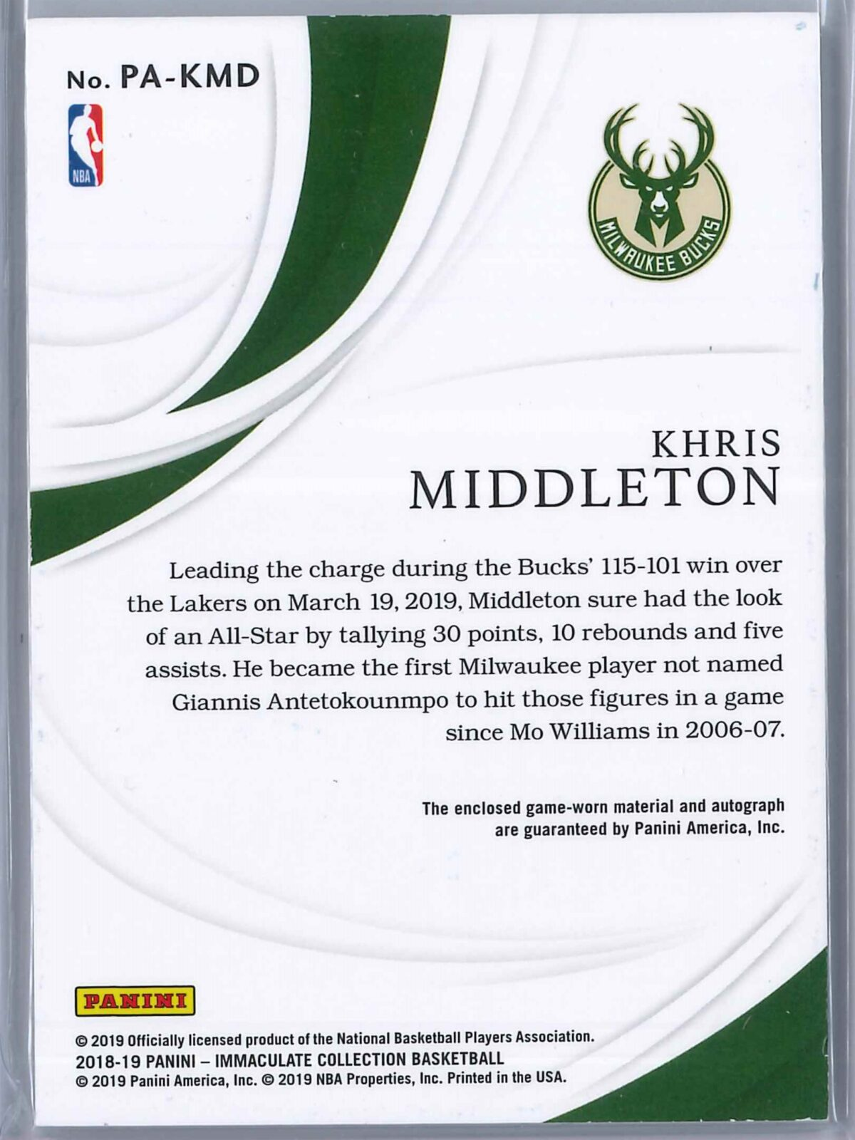 Khris Middleton Panini Immaculate 2018-19 Patch Autograph 53/60 3-Color Patch