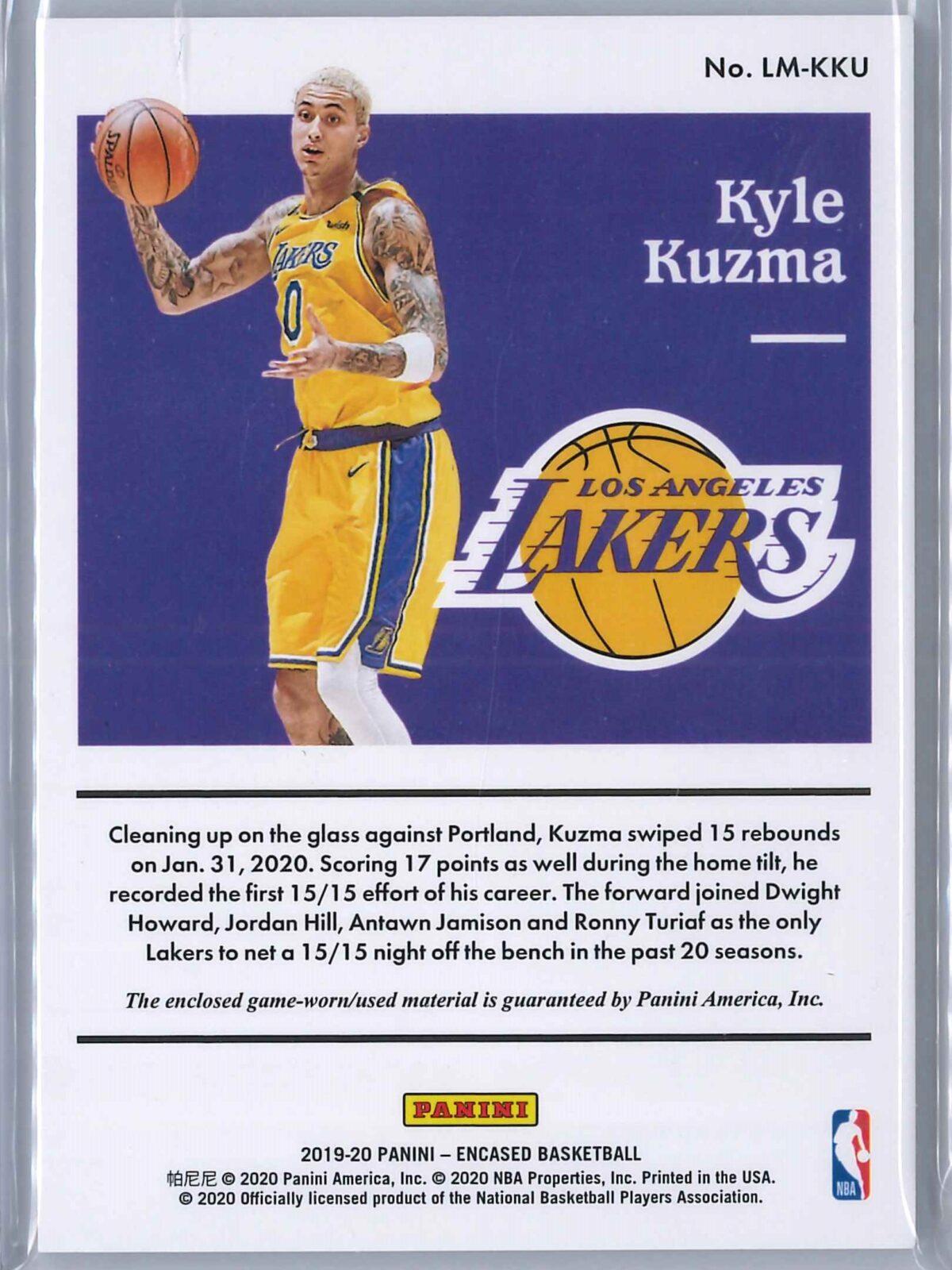 Kyle Kuzma Panini Encased 2019-20 Patch Label Materials 182/199