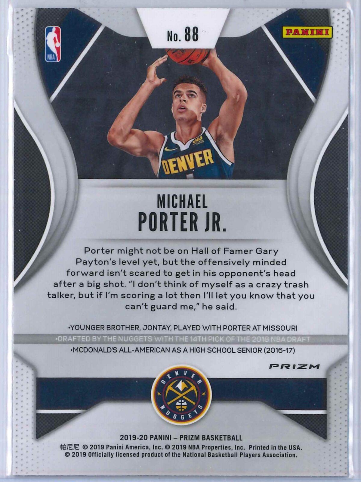 Michael Porter Jr. (1) Panini Prizm 2019-20 Base 2nd Year Red White Blue