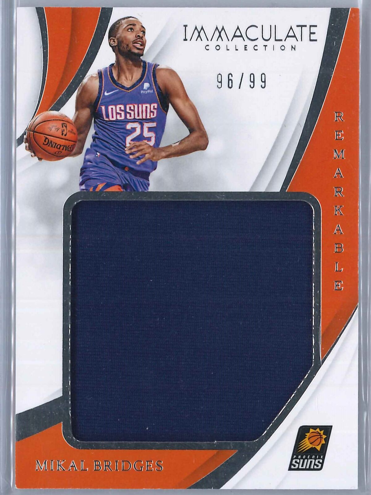 Mikal Bridges Panini Immaculate 2018-19 Remarkable 96/99 Rookie Patch