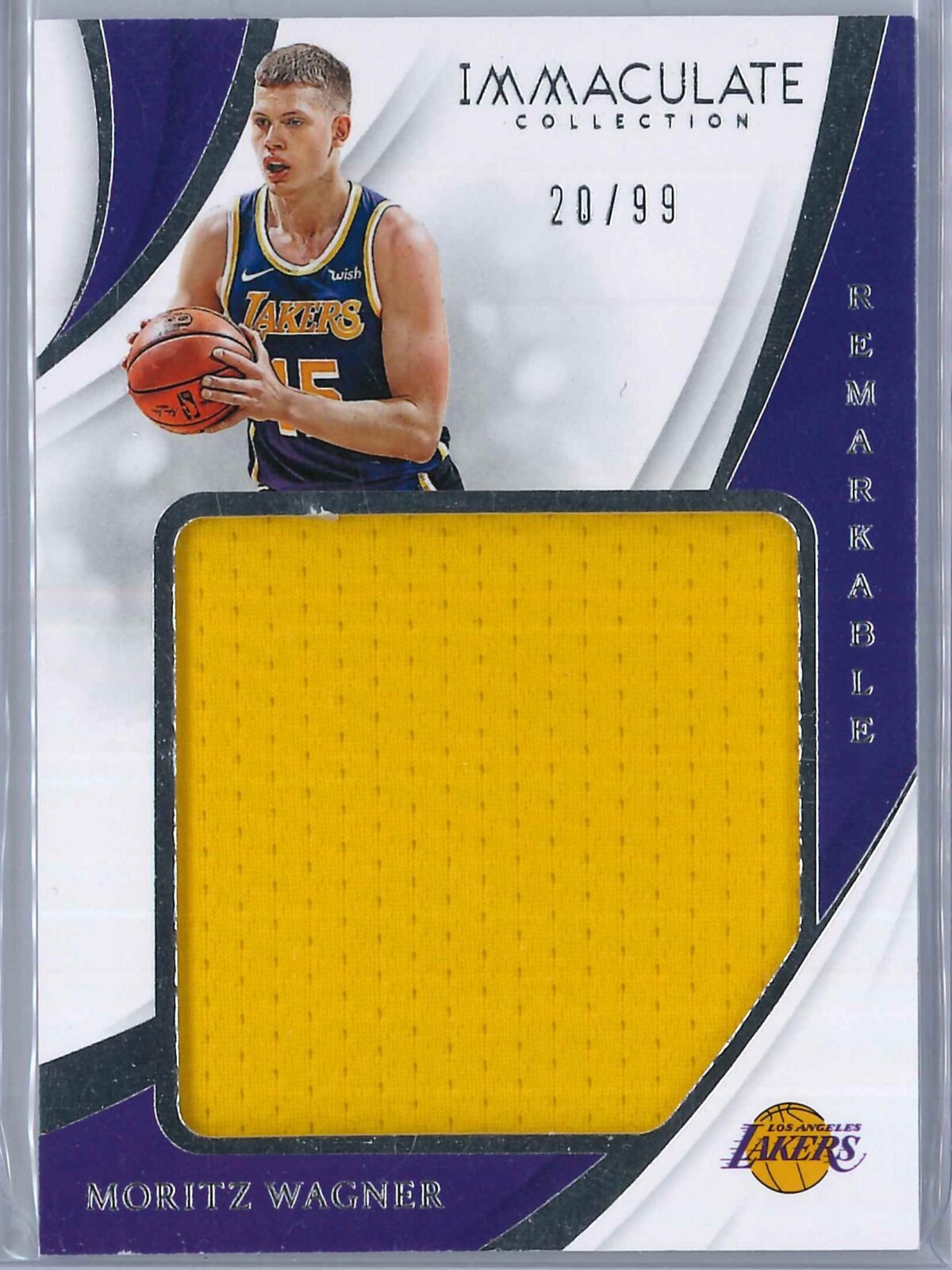 Moritz Wagner Panini Immaculate 2018-19 Remarkable 20/99 Rookie Patch