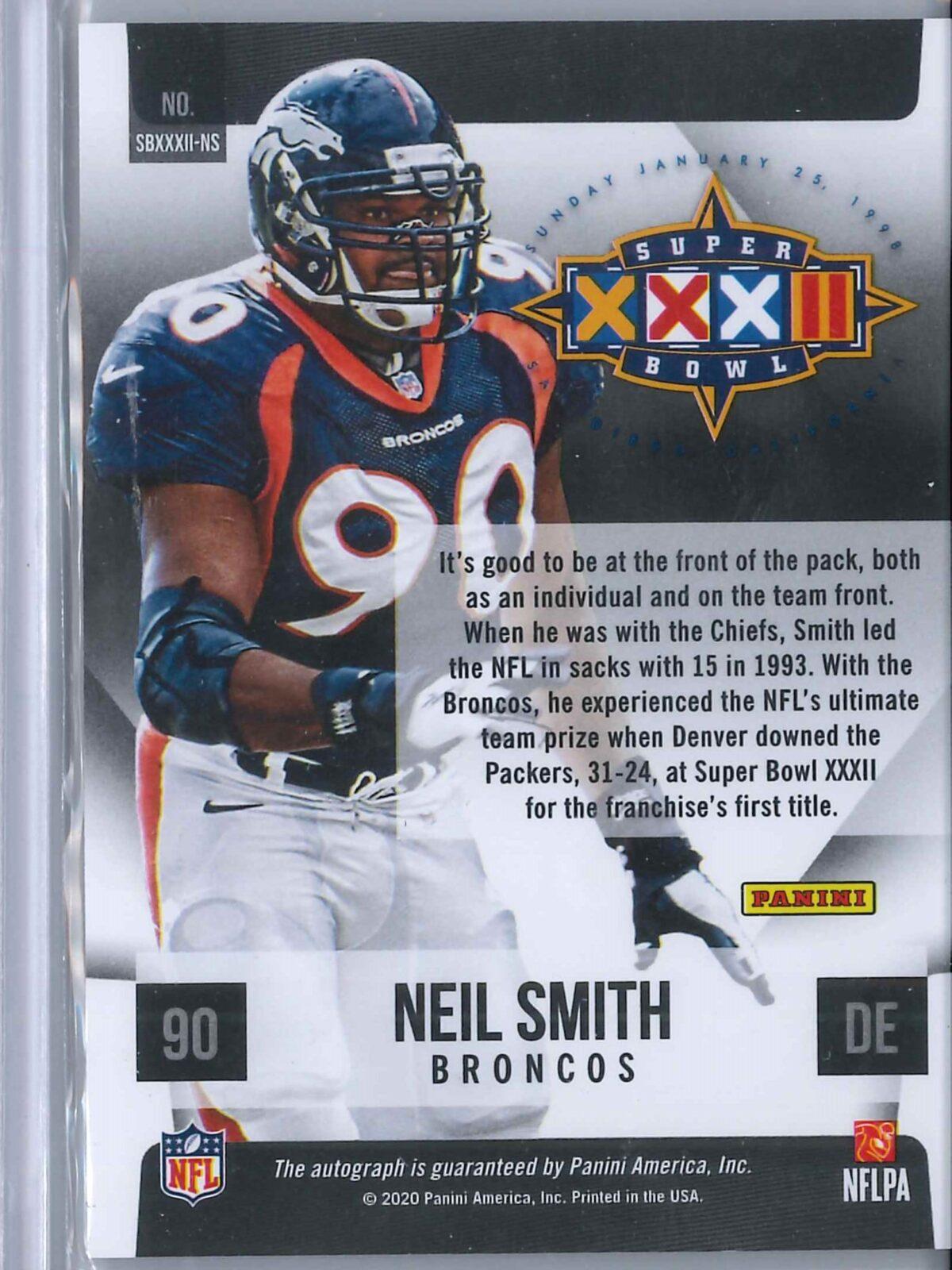 Neil Smith Panini Limited 2020 Auto Holo Super Bowl