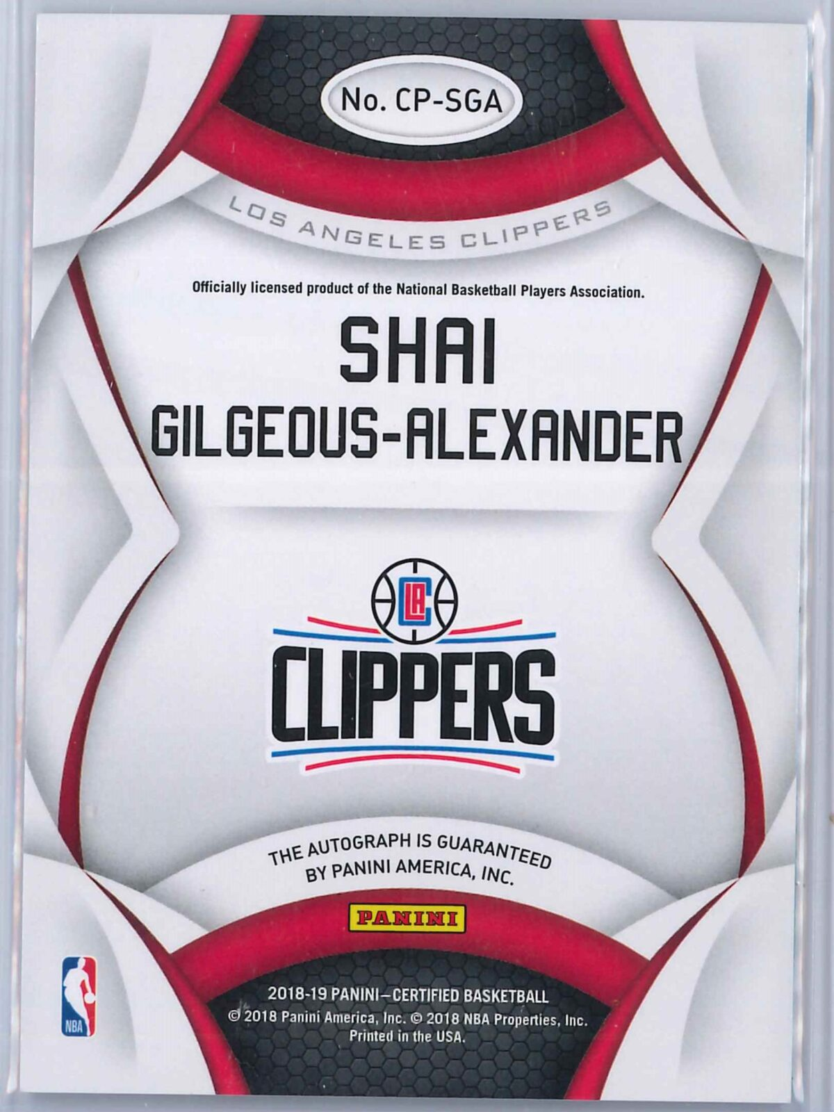 Shai Gilgeous Alexander Panini Certified 2018-19 Rookie Auto Certified Potential
