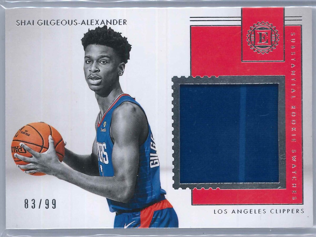 Shai Gilgeous Alexander Panini Encased 2018-19 Patch Substantial Rookie Swatches 83/99