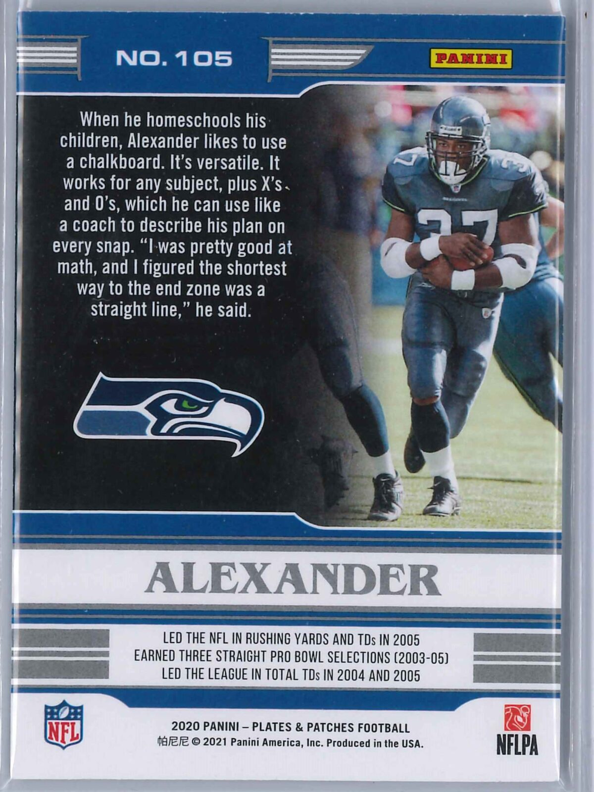 Shaun Alexander Panini Plates and Patches 2020 Legends 58/60