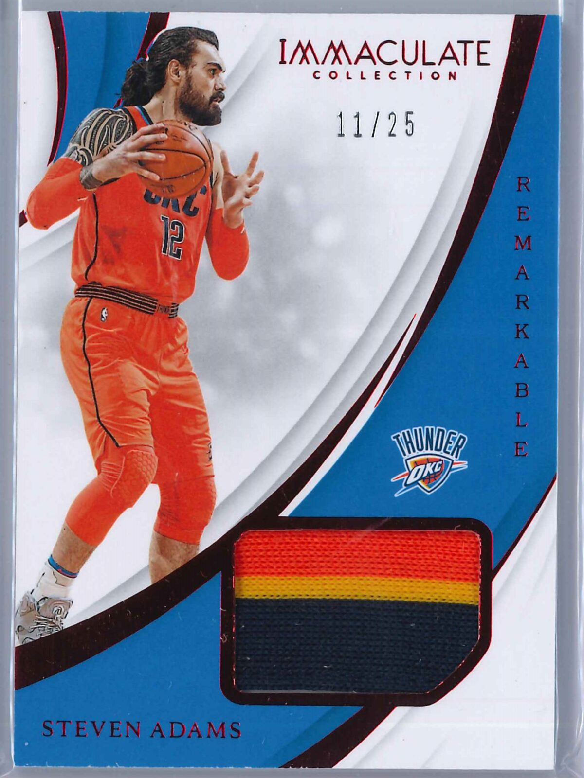 Steven Adams Panini Immaculate 2018-19 Remarkable Red 11/25 3-Color Patch