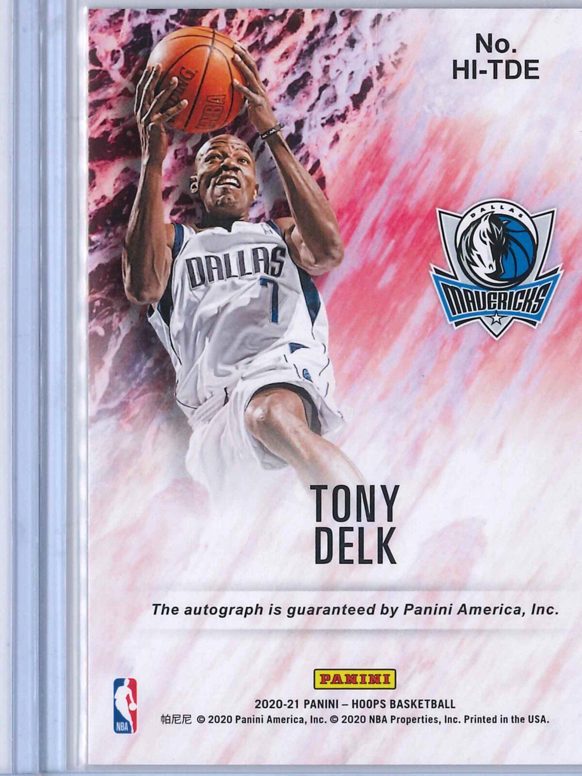 Tony Delk Panini Hoops 2020-21 Hoops Ink Auto