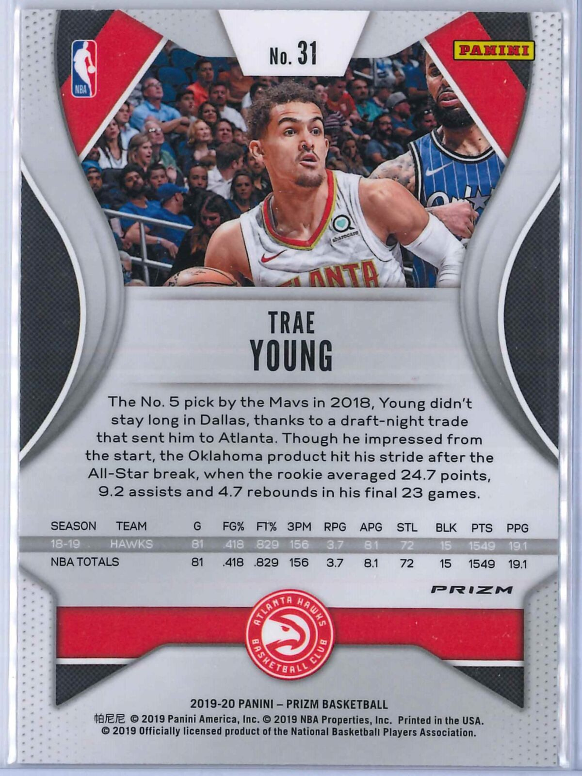 Trae Young (1) Panini Prizm 2019-20 Base 2nd Year Red White Blue