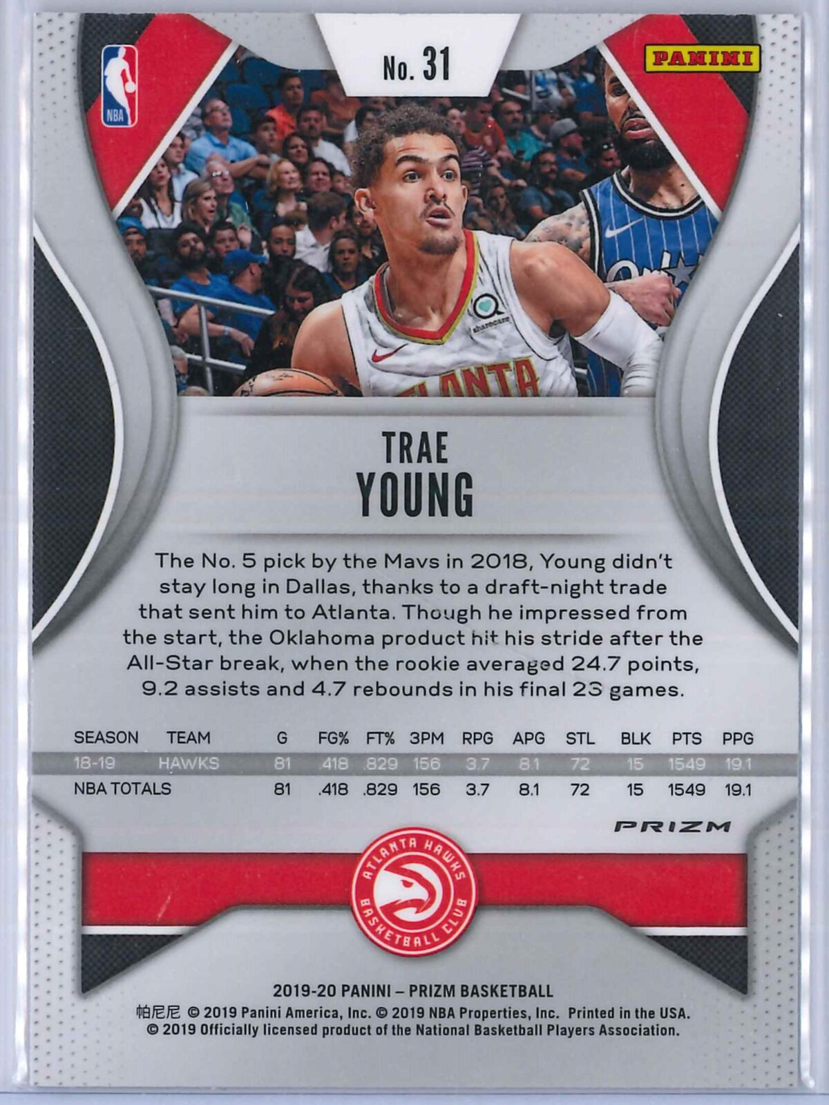 Trae Young (2) Panini Prizm 2019-20 Base 2nd Year Red White Blue