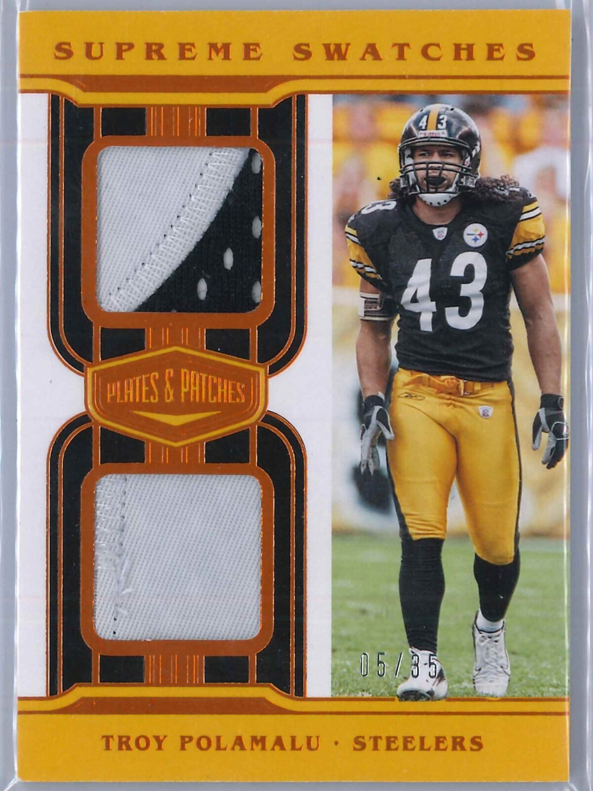 Troy Polamalu Panini Plates and Patches 2020 Supreme Swatches 05/35 2-Color Patch