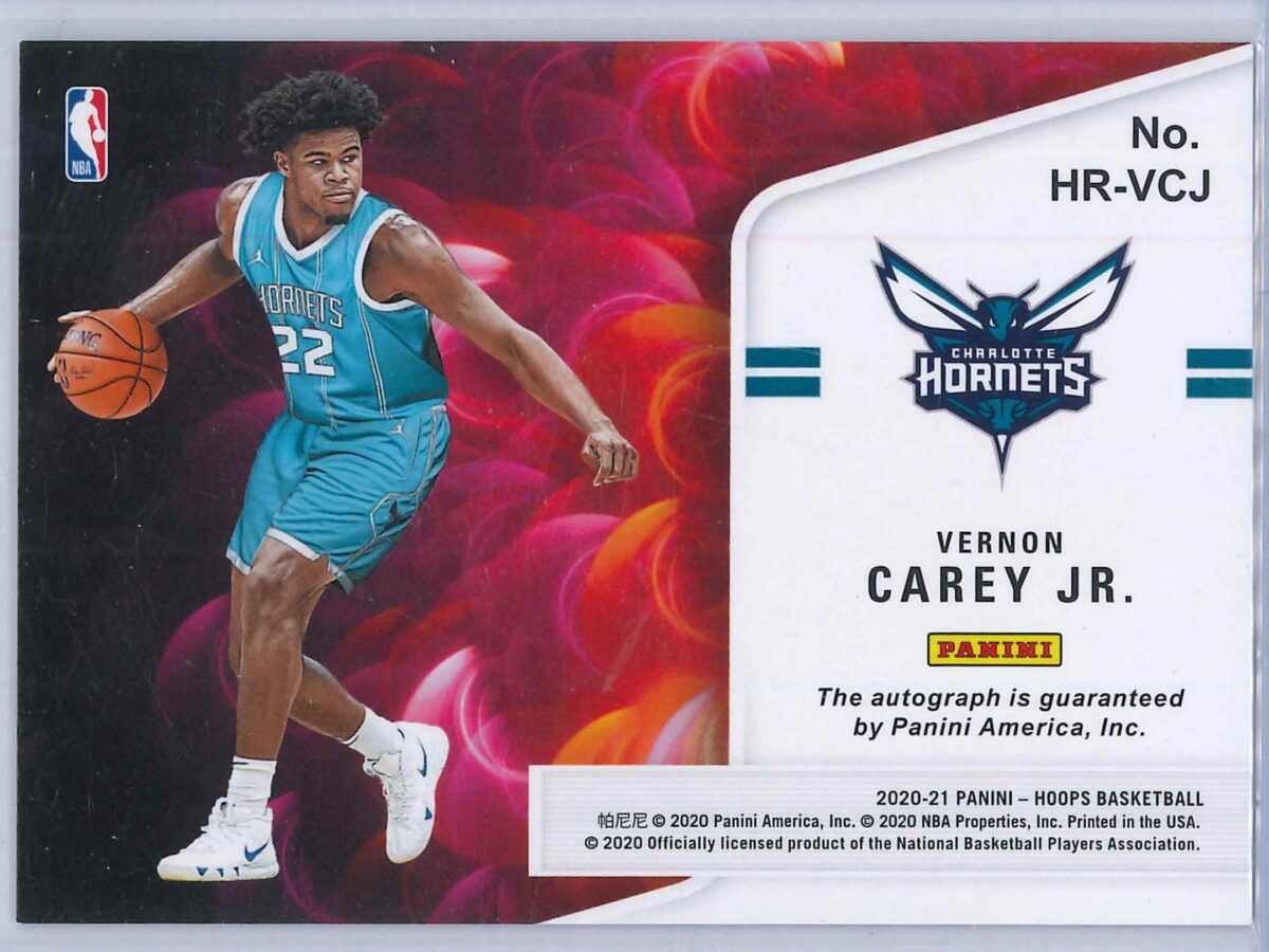 Vernon Carey Jr. Panini Hoops 2020-21 Hot Signatures Rookie RC Auto