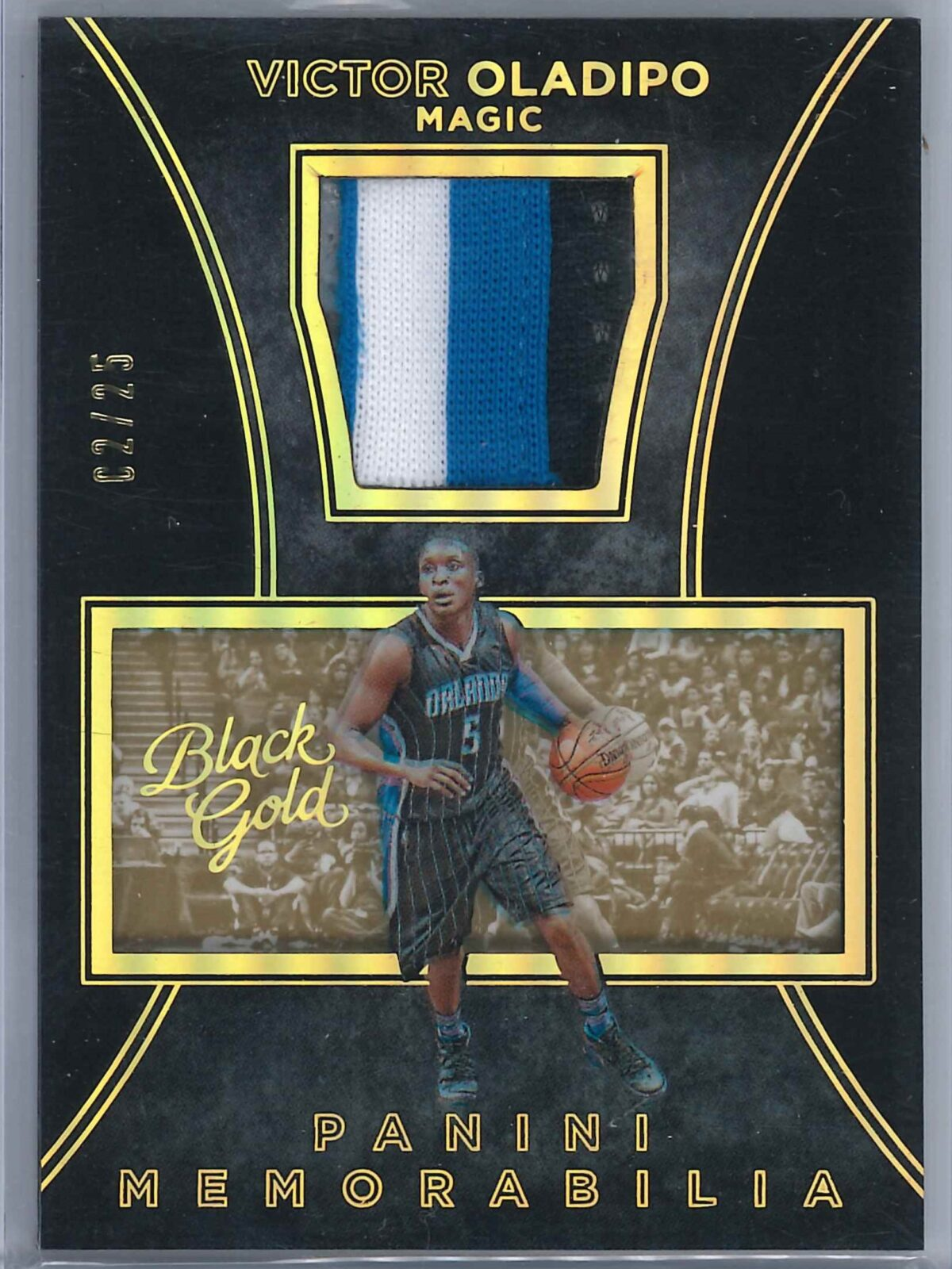 Victor Oladipo Panini Black Gold 2015-16 Patch Gold 02/25