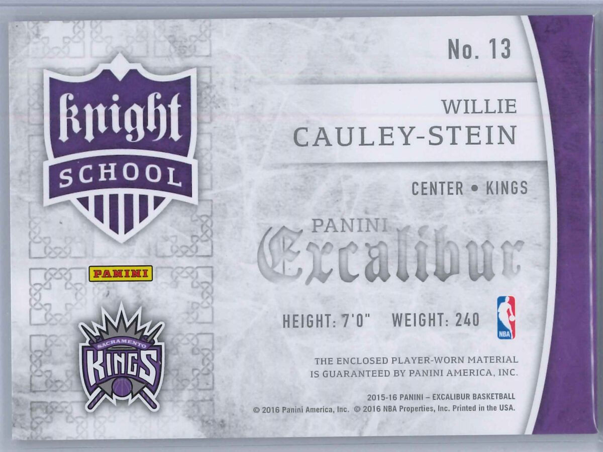 Willie Cauley Stein Panini Excalibur 2015-16 Knight School RC Patch Rookie Patch