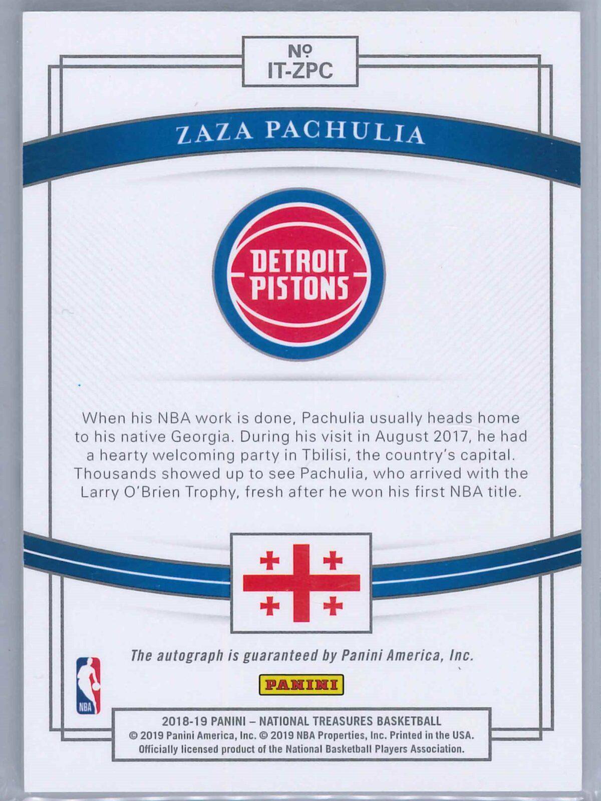 Zaza Pachulia Panini National Treasures 2018-19 Auto International Treasures 95/99