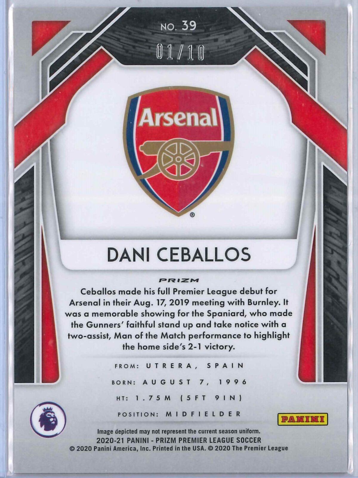 Dani Ceballos Panini Prizm 2020-21 Base Gold 01/10