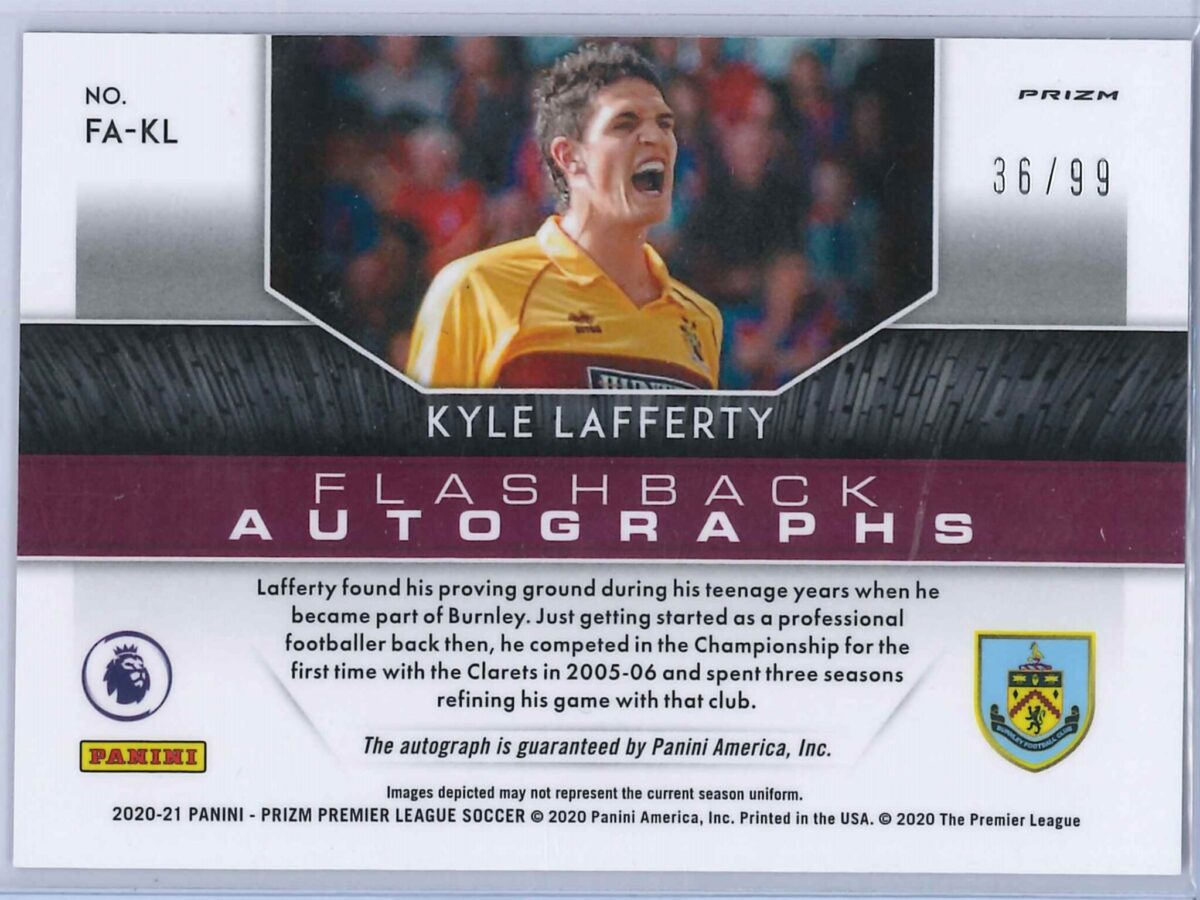 Kyle Lafferty Panini Prizm 2020-21 Flashback Autographs Purple 36/99