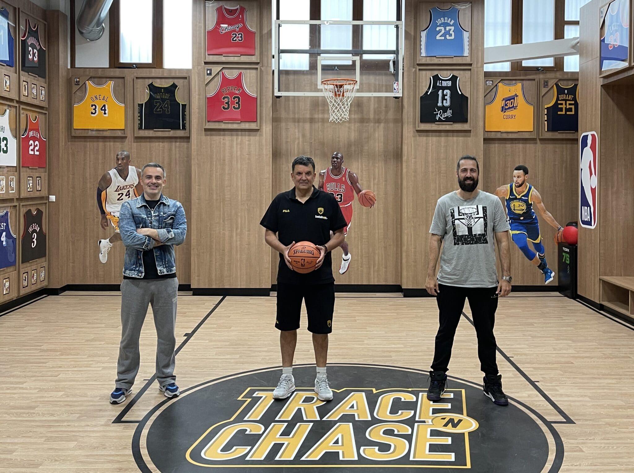 Coach Vangelis Angelou of AEK B.C. talks basketball at Trace 'N Chase