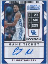 EJ Montgomery Panini Contenders Basketball 2020 Game Ticket   RC Auto
