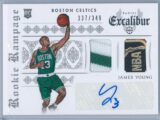 James Young Panini Excalibur Basketball 2014 15 Rookie Rampage Duals 337349 RC Auto Jersey Ball Relic 2
