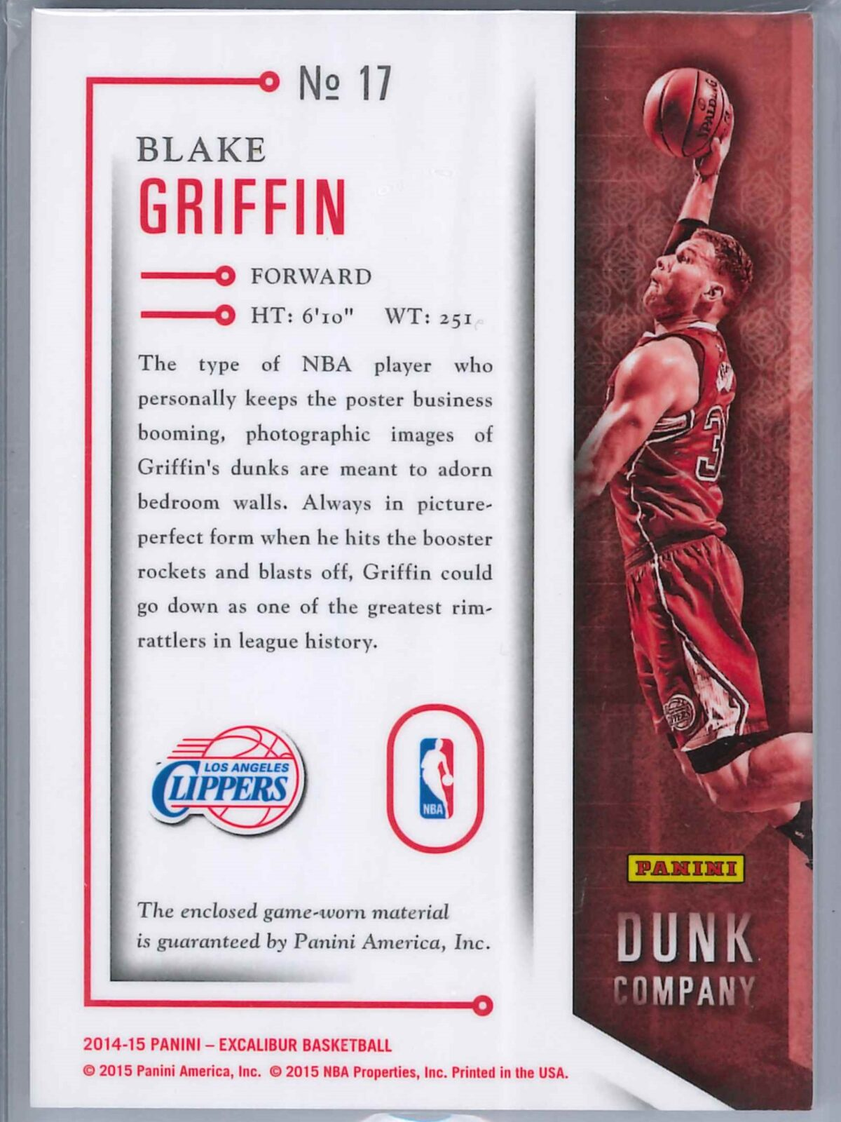Blake Griffin Panini Excalibur 2014-15 Dunk Co Patch Gold 04/25