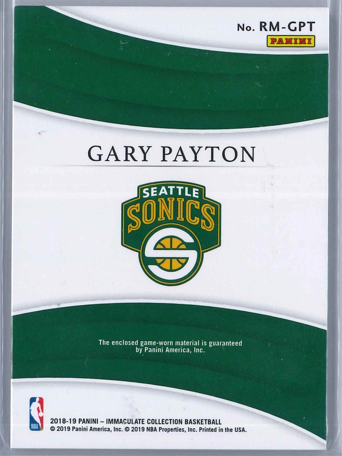 Gary Payton Panini Immaculate 2018-19 Remarkable 12/99