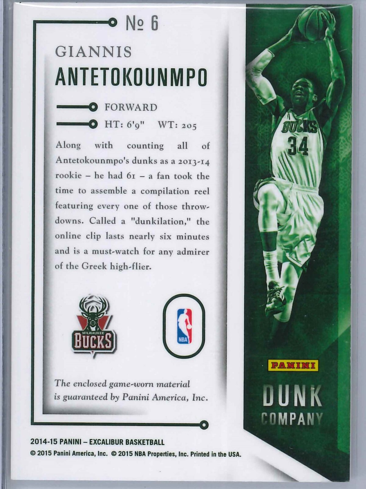 Giannis Antetokounmpo Panini Excalibur 2014-15 Dunk Co Patch 2nd Year