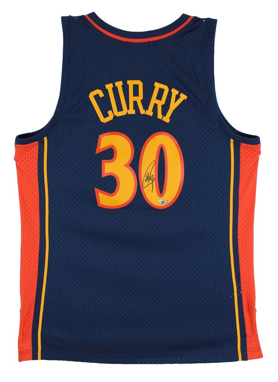 Warriors Stephen Curry Signed Rookie Year M&N HWC Swingman Jersey Fanatics COA