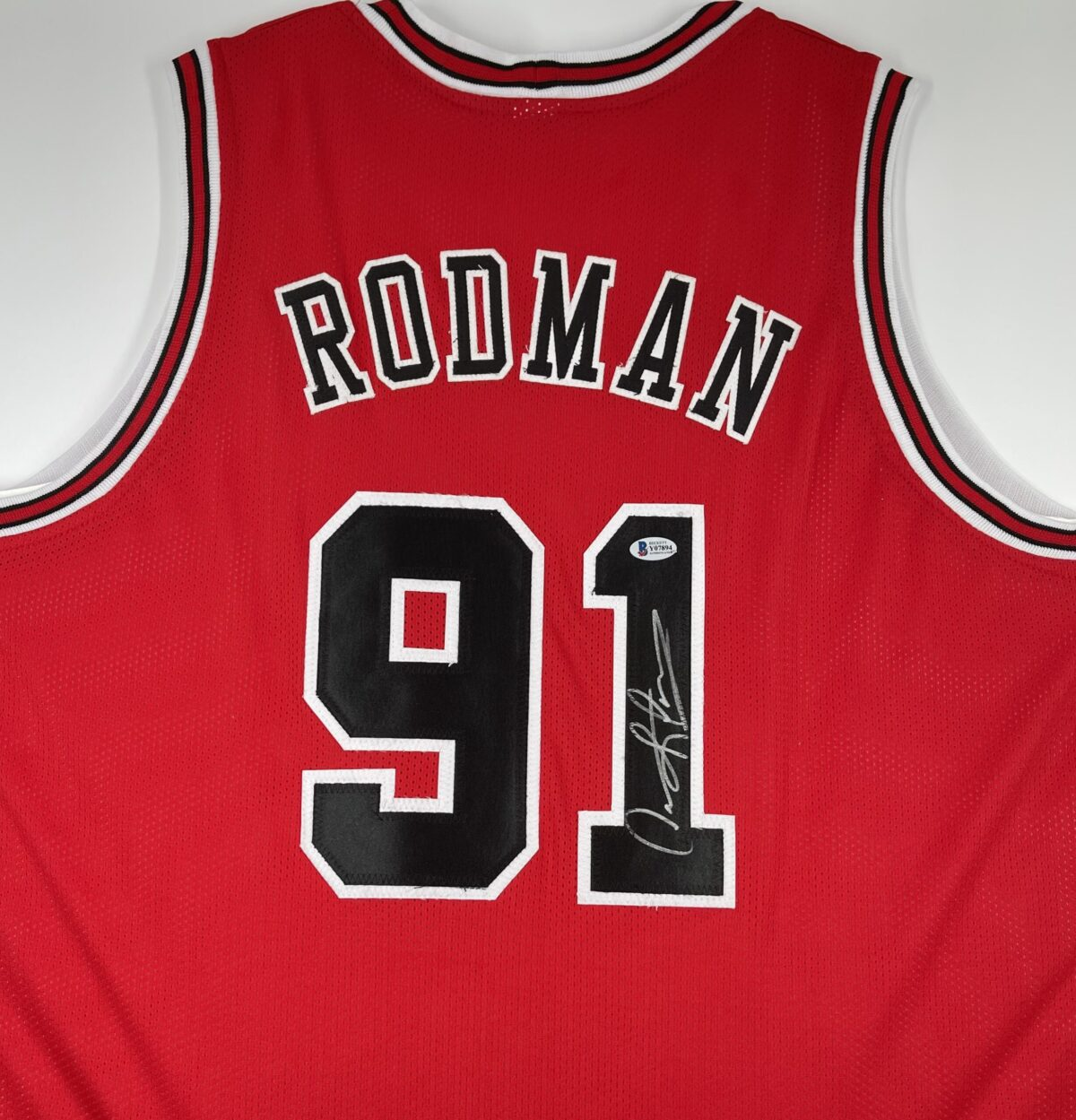 Dennis Rodman Authentic Signed Red Pro Style Jersey Autographed [BAS Y07894]