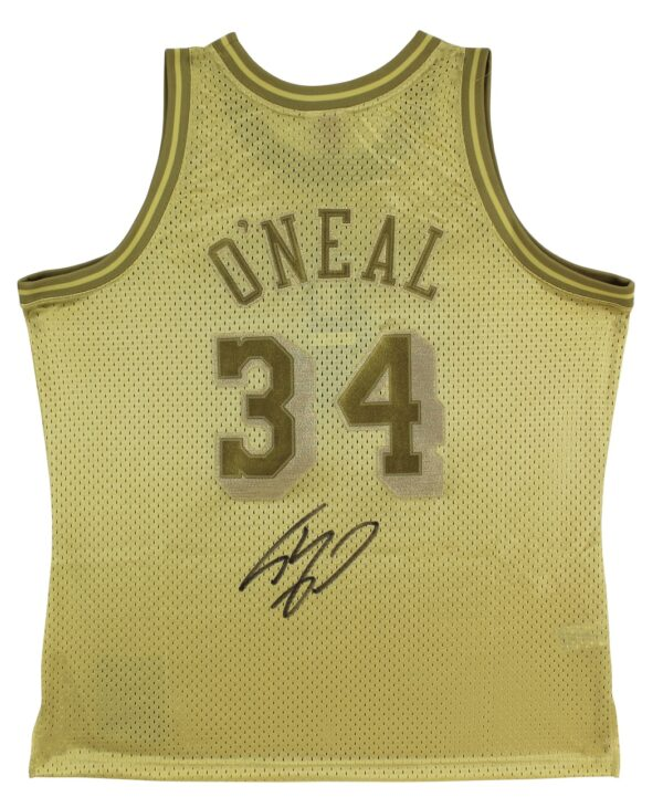 Lakers Shaquille O'Neal Authentic Signed Gold 96-97 M&N HWC Swingman Jersey BAS