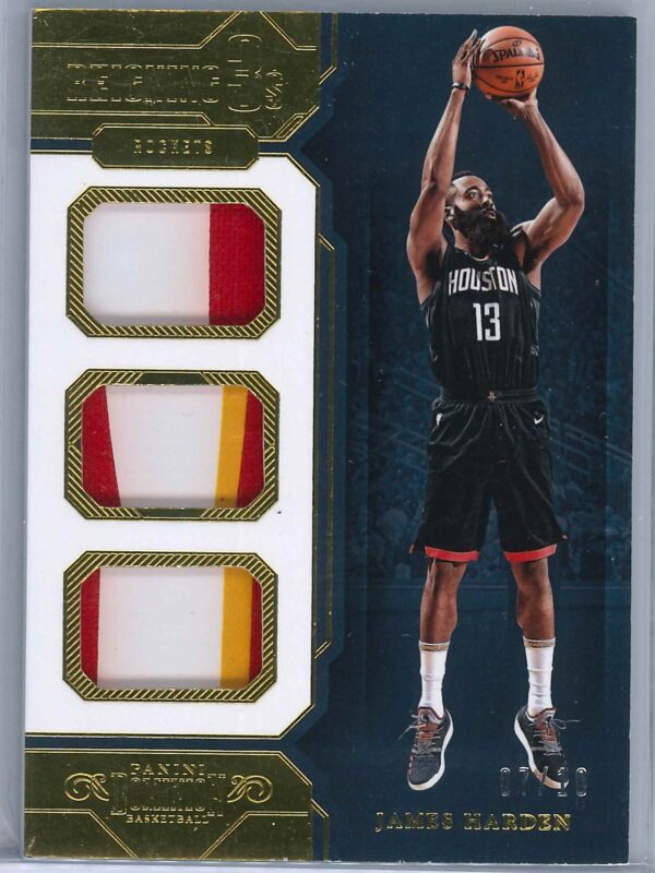James Harden Panini Dominion 2018-19 Reigning 3s Gold 07/10